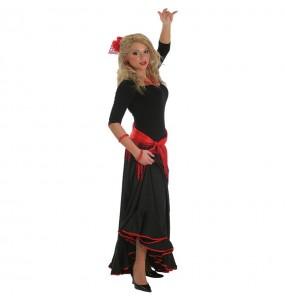 Travestimento Gonna Flamenco Nera donna per divertirsi e fare festa