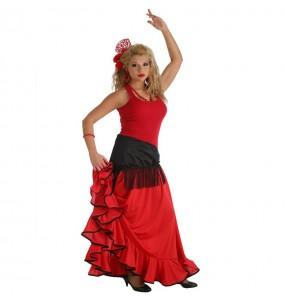 Travestimento Gonna Flamenco Rossa donna per divertirsi e fare festa