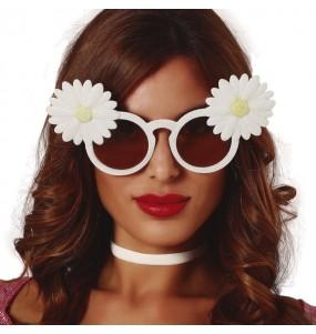 I più divertenti Occhiali bianchi con margherite per feste in maschera