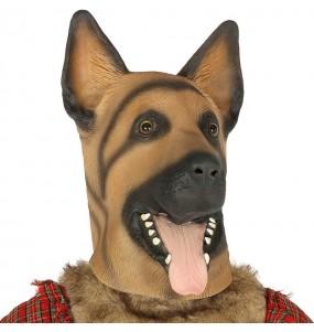 Maschera pastore tedesco in lattice per poter completare il tuo costume Halloween e Carnevale