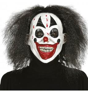 Maschera Killer Clown con capelli per poter completare il tuo costume Halloween e Carnevale