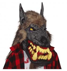 Maschera lupo gigante con i capelli