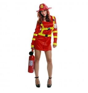 Travestimento Pompiera donna per divertirsi e fare festa