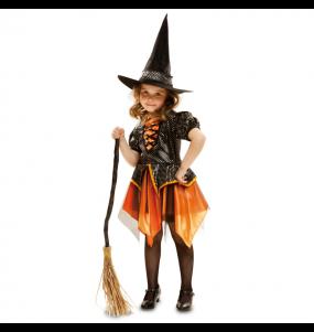 Vestito Strega dorata bambine per una festa ad Halloween