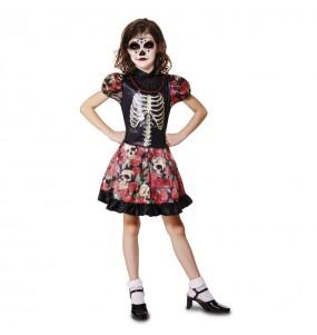 Vestito Catrina morte messicana bambine per una festa ad Halloween