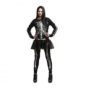 Costume Scheletro nero donna per una serata ad Halloween