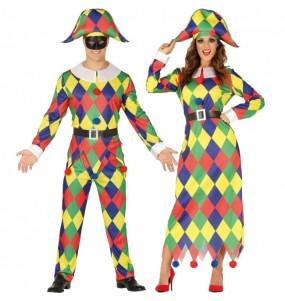 Travestimenti coppia arlecchini multicolore divertenti per travestirti con il tuo partner