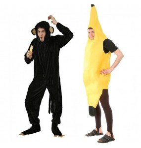 L'originale e divertente coppia di Scimpanzé e banana per travestirsi con il proprio compagno