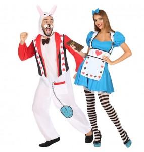 Travestimenti coppia Alice Wonderland e Coniglio bianco divertenti per travestirti con il tuo partner