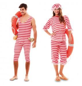 Travestimenti coppia bagnanti rossi divertenti per travestirti con il tuo partner