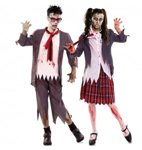 Travestimenti coppia Studenti Zombie divertenti per travestirti con il tuo partner