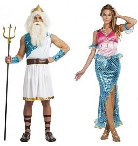 L'originale e divertente coppia di Re Nettuno e Sirenetta Ariel per travestirsi con il proprio compagno