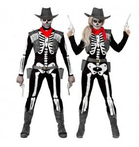 Travestimenti coppia scheletro cowboy divertenti per travestirti con il tuo partner