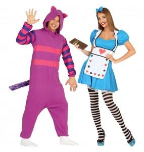 L'originale e divertente coppia di Gatto Cheshire e Alice paese delle meraviglie per travestirsi con il proprio compagno