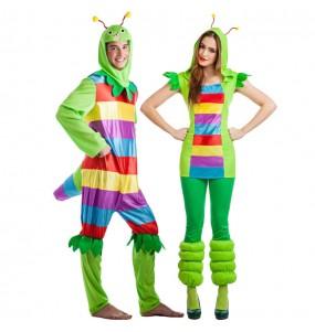 Travestimenti coppia vermi multicolor divertenti per travestirti con il tuo partner
