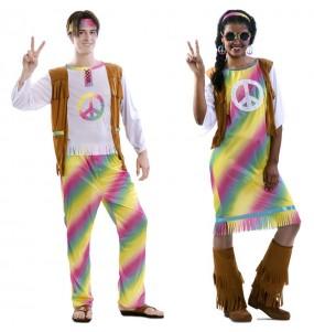 Travestimenti coppia hippy arcobaleno divertenti per travestirti con il tuo partner