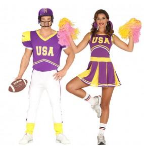 L'originale e divertente coppia di Giocatore di football e cheerleader per travestirsi con il proprio compagno