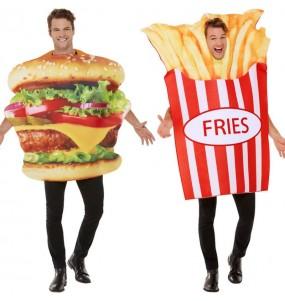 L'originale e divertente coppia di Hamburger e Patate Fritte per travestirsi con il proprio compagno