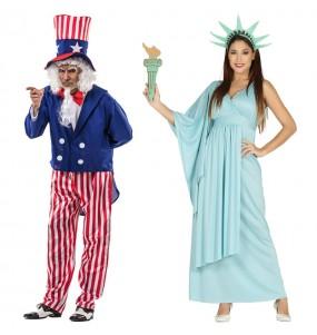 L'originale e divertente coppia di Zio Sam e Statua della Libertà per travestirsi con il proprio compagno