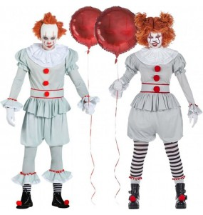Travestimenti coppia Clown It Pennywise divertenti per travestirti con il tuo partner