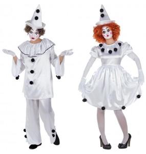 Travestimenti coppia Clown Pierrot divertenti per travestirti con il tuo partner