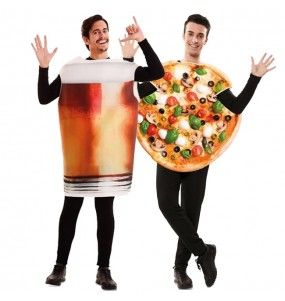L'originale e divertente coppia di Pinta di Birra e Pizza per travestirsi con il proprio compagno