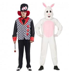 L'originale e divertente coppia di Cappellaio di cuori e Coniglio bianco per travestirsi con il proprio compagno
