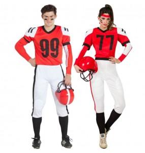 Travestimenti coppia football americano rosso divertenti per travestirti con il tuo partner