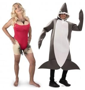 L'originale e divertente coppia di Bagnina di Baywatch e Squalo per travestirsi con il proprio compagno