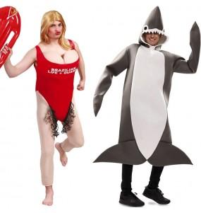 L'originale e divertente coppia di Guardaspiaggia e Squalo per travestirsi con il proprio compagno