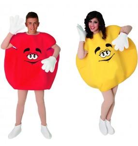 Travestimenti coppia Candy amarelo e rosso divertenti per travestirti con il tuo partner