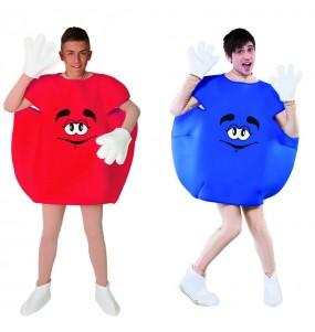 Travestimenti coppia Candy blu e rosso divertenti per travestirti con il tuo partner