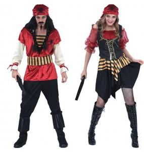 Travestimenti coppia pirati rossi divertenti per travestirti con il tuo partner