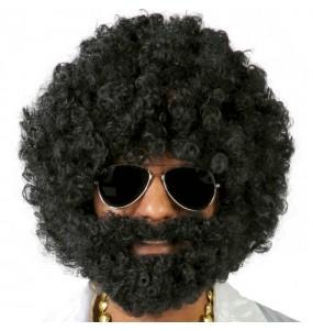 La più divertente Parrucca afro con barba per feste in maschera