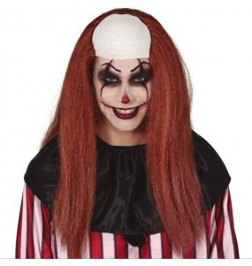 Parrucca con testa calva Devil Clown