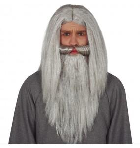 Parrucca Mago con barba grigia
