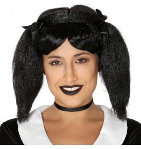La più divertente Parrucca Mercoledì Addams per feste in maschera
