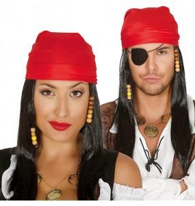 La più divertente Parrucca pirata dei Caraibi con sciarpa per feste in maschera