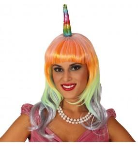 La più divertente Parrucca Unicorno Multicolor per feste in maschera