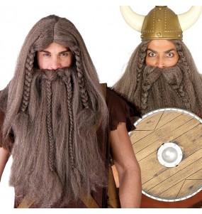 La più divertente Parrucca vichinga con la barba per feste in maschera