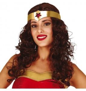 La più divertente Parrucca Wonder Woman con archetto per feste in maschera