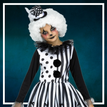 Acquista online i costumi di Halloween pagliacci del terrore per bambina