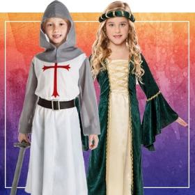 Catalogo di costumi medievali per scuole bambino e bambina